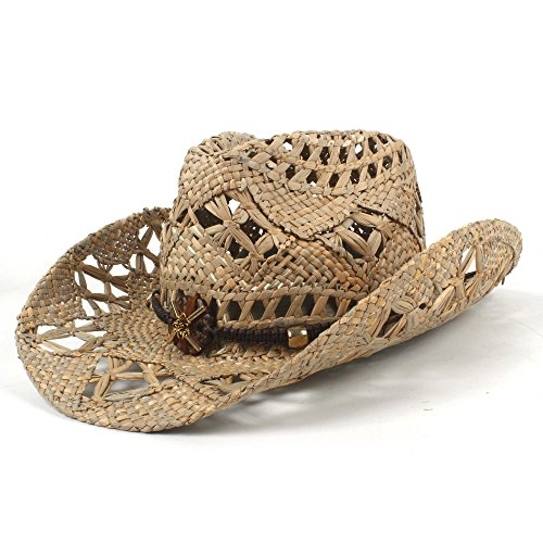 LQ-BNM Panamahut - natuurlijke jazz hoed, stroh cowboy hoed, dames heren handgeweven cowboy hoed 56-58 cm