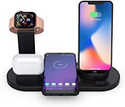 3 in 1 Qi Wireless Charger Station for iPhone AirPods Apple Watch Series 1 2 3 4, Qi Fast Wireless Charging Stand for iPhone 8 X XR XS and Samsung Note8 S8 S9 iWatch Air Pods Dock (Black)