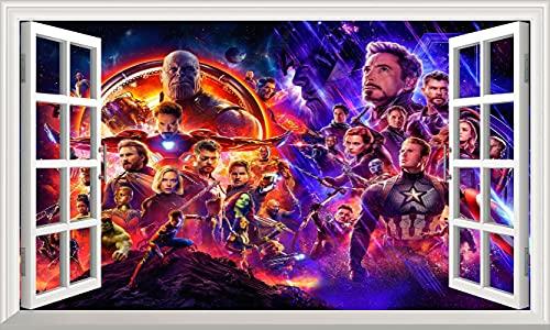 DT Poster Marvel Avengers Wandtattoo Superhelden Wandaufkleber 3d Fenster Vinyl Poster Schlafzimmer Junge Mädchen 100x60cm Groß