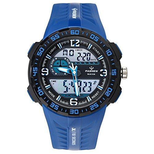 Montre électronique de Sport/Montre Multifonction étanche/luminosité/chronomètre/Temps/Table de Bain/Montres pour Homme, Blue