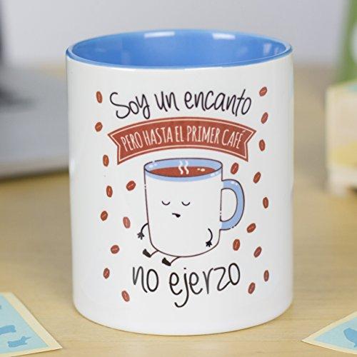 La mente es Maravillosa - Taza con Frase y Dibujo. Regalo Original y Gracioso (Soy un Encanto Pero hasta el Primer café no ejerzo) Taza Diseño Café