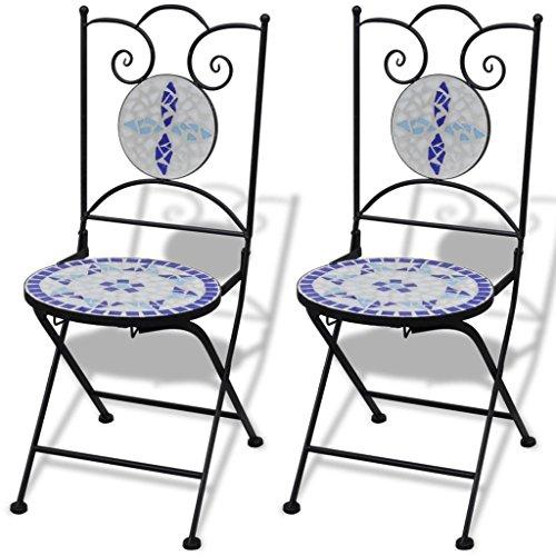 Lasamot Sillas Bistro, Sillas Bistro Plegables 2 Piezas Cerámica Azul y Blanco