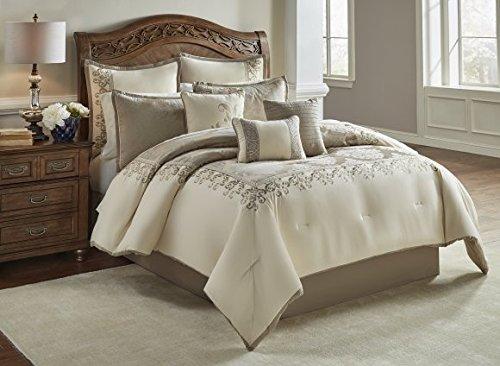 Riverbrook Home Polyester Comforter Set, King, Set of 10, Hillcrest - Ivory/Gold, 10 Piece