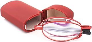 KoKoBin Opvouwbare leesbril van roestvrij staal mini anti-blauw peeshulp voor dames en heren leeshulp met harde schaal etui