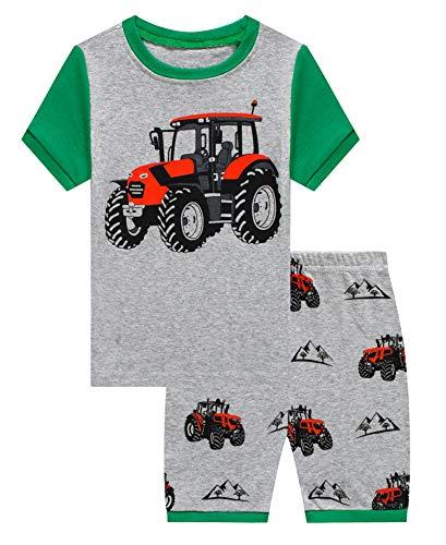 KikizYe Little Boys Tractor Summer Pajamas Short Sets 100% Cotton Pants Sets Kid 5