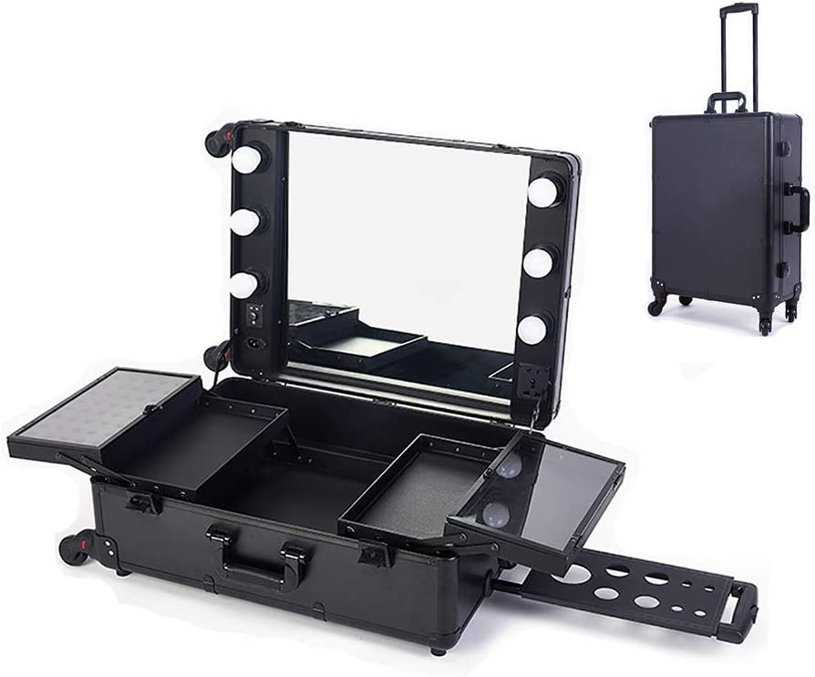 BYCDD LED Very popular Makeup Train Case Direct stock discount Portable Travel S Cosmetics Rolling