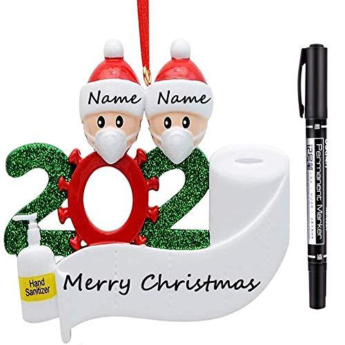HITRENDS Adornos Navidad Personalizados 2020 para Familia de Cuarentena con Papel Higiénico, DIY Navideños Adorno Colgante para Decoración Navideña, árbol, Decoración del Hogar, Regalos (Familia de 2)