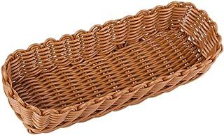 YARNOW Rattan Vanity Tray Woven Guest Towel Holder Wicker Napkin Caddy Tableware Organizer Basket Tableware Organizer Bask...