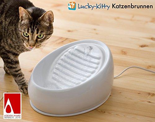 Lucky-Kitty Keramik Katzenbrunnen, weiß - 2