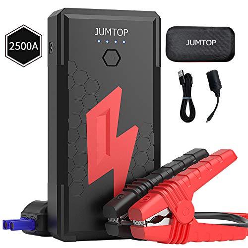 JUMTOP Avviatore Batteria Auto, 2500A Picco 20800mAh Booster Avviamento Auto/Moto Portatile (8,0L gas/motore diesel 6,5L) Adattatore DC,Torcia Elettrica a LED, Doppia porta di ricarica USB