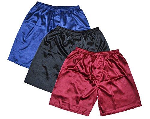 TONY & CANDICE Herren Satin Glanz Boxershorts 3er Pack Unterwäsche (XL)