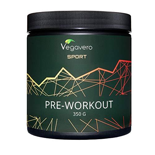 Pre Workout Mix Vegavero® Sport | L-Arginina AAKG + BCAA + Citrulina Malato + Beta Alanina + Cafeína + Vitaminas B | 350 g en Polvo | Pre Entrenos + Masa Muscular + Aminoácidos Esenciales