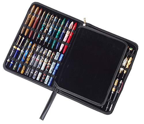 万年筆ケース ローラーボールペンホルダーバッグ PUレザー バッグポーチ 大容量 48本のペンコレクション ブラック