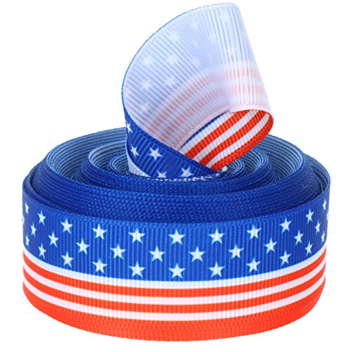 Amosfun Patriotic Stars and Stripes Ribbon Independence Day Wrapping Ribbons 4th of July Grosgrain Ribbons Patriotic Decoration for Independence Day Party Decorations