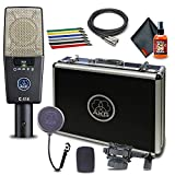 AKG C414 XLS Large-Diaphragm Instrument Condenser Microphone with Nine Switchable Polar Patterns with Shockmount, Popfilter, Carrying Case, Windscreen, Cable Ties, XLR Cable and 6Ave Cleaning Kit