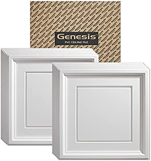Genesis Easy Installation Icon Coffer Lay-in White Ceiling Tile/Ceiling Panel, Carton of 12 (2' x 2' Tile)