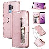ZTOFERA Brieftasche Hülle für Samsung Galaxy S9 Plus, Reißverschluss PU Leder Magnetisch Flip Folio Kartenhalter mit Trageschlaufe Ständer Zipper Geldbörse Schutzhülle für Galaxy S9 Plus - Roségold