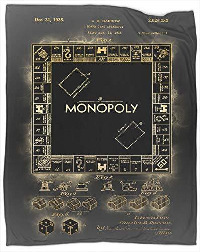 Coobals Monopoly - Manta de forro polar, color negro, tamaño doble, súper suave, larga, manta de viaje, excelente sensación de 70 x 50 pulgadas