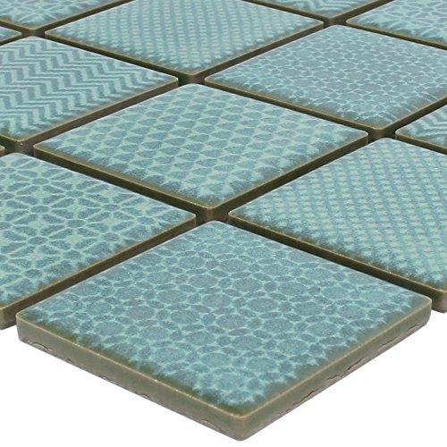 Mosaik-Fliesen Keramik Sapporo Grün | Wandfliesen | Mosaik-Fliesen | Boden-Fleisen | Fliesen-Bordüre | Ideal für den Wohnbereich, die Küche und das Badezimmer (auch als Muster erhältlich)