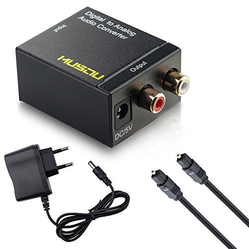 Audio Konverter Wandler Musou Digital (Toslink und Koaxial) zu Analog (Cinch) |  Digital zu Analog Audiowandler Decoder | Noise Reduction Design mit Netzteil und Toslinkkabel - Schwarz