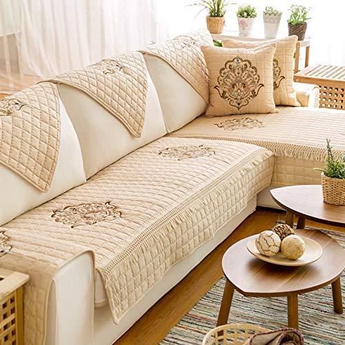 XYL HOME Coton Artisanat Coton brodé canapé Coussin Tissu Salon de Jardin canapé Serviette Ensemble Coton Mat, brodé coloré - Beige, 110 * 210cm