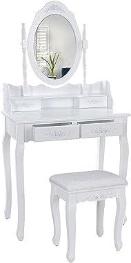 Wefun Coiffeuse en Bois avec 4 tiroirs de Rangement et Miroir avec Bureau de Maquillage de Tabouret pour Chambre ou Dressing,