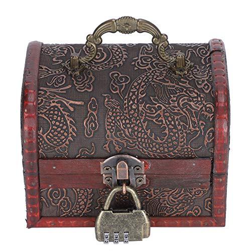 Mxzzand Antique en Bois à l'ancienne avec Serrure Coffre au trésor Coffre à Bijoux boîte-Cadeau boîte de Rangement de(#1)