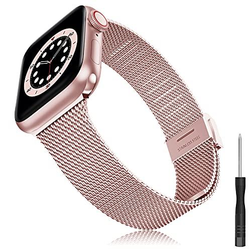 Cinturino Compatibile con Apple Watch Cinturino 38mm 40mm 42mm 44mm, Bracciale in Acciaio Inossidabile Design Sottile in Metallo Cinturino per iWatch Series 6 5 4 3 2 1 SE