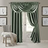 Elrene Home Fashions Versailles Faux Silk Room Darkening & Energy Efficient Lined Rod Pocket Window Curtain Drape Pleated Solid Panel, 52' x 95' (1, Sage Green