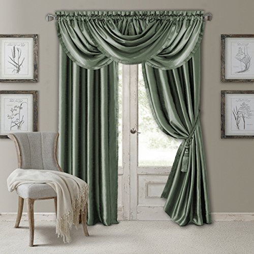 "Elrene Home Fashions Versailles Faux Silk Room Darkening & Energy Efficient Lined Rod Pocket Window Curtain Drape Pleated Solid Panel, 52"" x 108"" (1, Sage Green"