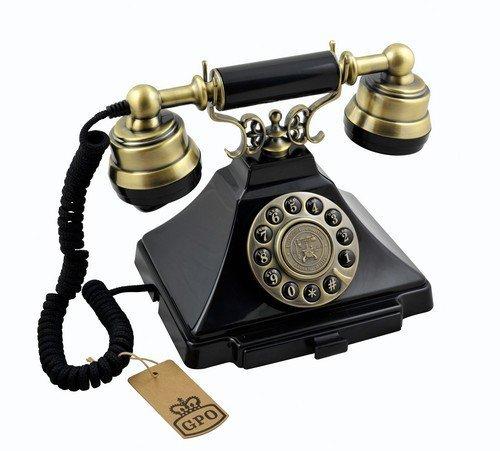 Teléfono con botón vintage nostálgico GPO Duke - Cordón de tela, auténtico tono de campana - Negro y bronce