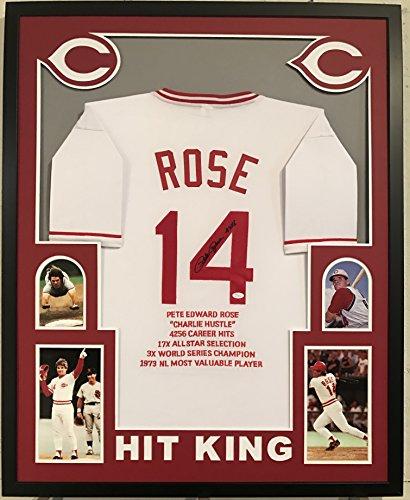Pete Rose Autographed Custom Framed Cincinnati Reds Jersey '4256' JSA Witnessed COA