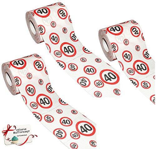 alles-meine.de GmbH 3 Stück Rollen _ Toilettenpapier -  40. Geburtstag / Happy Birthday  - WC Klopapier Klopapier - 25 m - Verkehrsschild - Geschenkartikel - Scherzartikel - Ja..