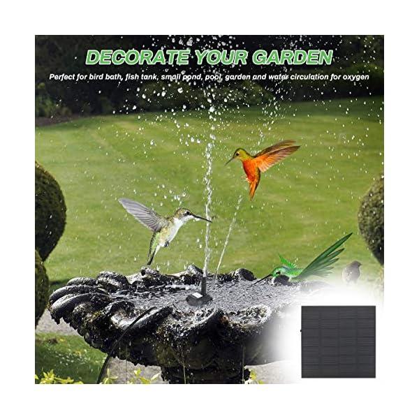 yidenguk Bomba de Fuente Solar para baño de Aves, Fuente de Agua Solar de 1,2 W, Kit de Bomba de Agua con energía Solar…