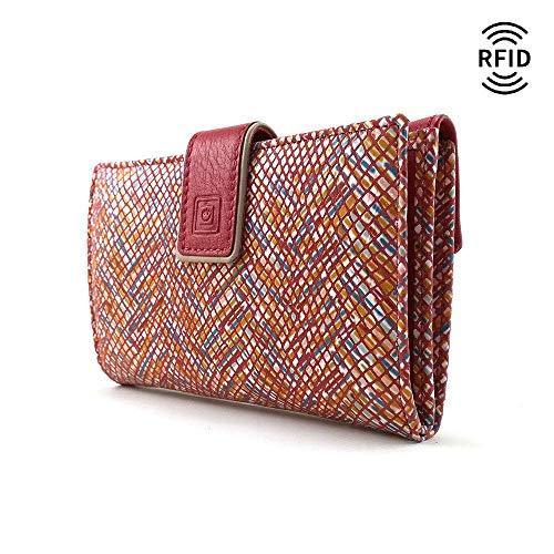 Geldbörse Damen, RFID, Handmade Spanien, Portemonnaie Damen, Casanova, Gemacht Aus Haut, Ref. 27416 Rot