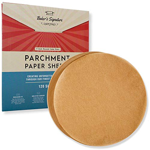 6 Inch Rounds Pack of 120 Parchment Paper Baking Sheets by Baker's Signature   Precut Silicone Coated & Unbleached – Will Not Curl or Burn – Non-Toxic & Comes in Convenient Packaging