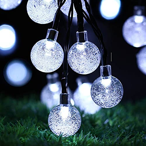 60 LED Globe Solar String Light, 11M/36FT Crystal Ball Solar Fairy Lights with 8 Modes, Outdoor Waterproof Solar Powered Patio Lights for Garden Yard porch Wedding Party Decor (White)