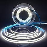 Tira LED flexible de 24 V 5 m COB blanco frío 6000 K de alta densidad 320 LED/M 1600 LED 40 W regulable y flexible para dormitorio, cocina, hogar, decoración