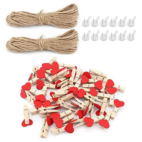 100 piezas de mini clips de madera para fotos, pinzas de madera, papel fotográfico, clavija, corazón, clips para manualidades con hilo de yute para decoración de fiestas (Rojo)