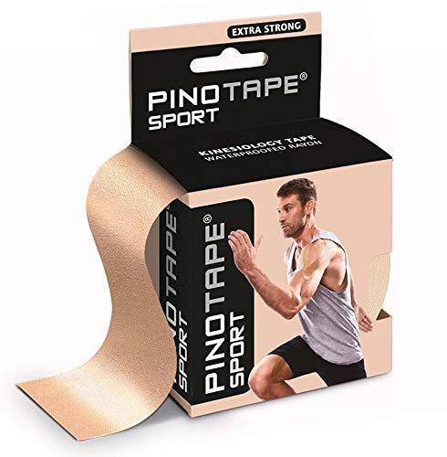PINOTAPE Pro Sport kinesiologisches Tape verschiedene Farben und Designs 5 cm x 5 m hautfreundlich (light beige)