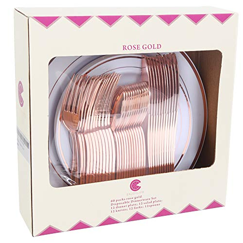 60pcs Rose Gold Plastic Plates, Rose Gold Plastic Silverware, Gold Plates for Parties, Disposable Wedding Plates in Heavy Weight,Enjoylife(Rose Gold)