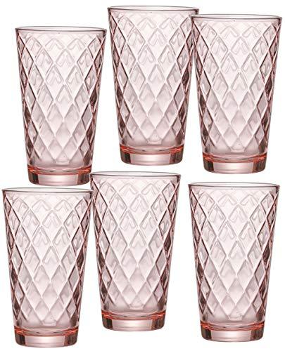 Ritzenhoff & Breker Longdrinkgläser-Set Lawe Diamant, 6-teilig, je 400 ml, Rosé, Glas, 400 milliliters