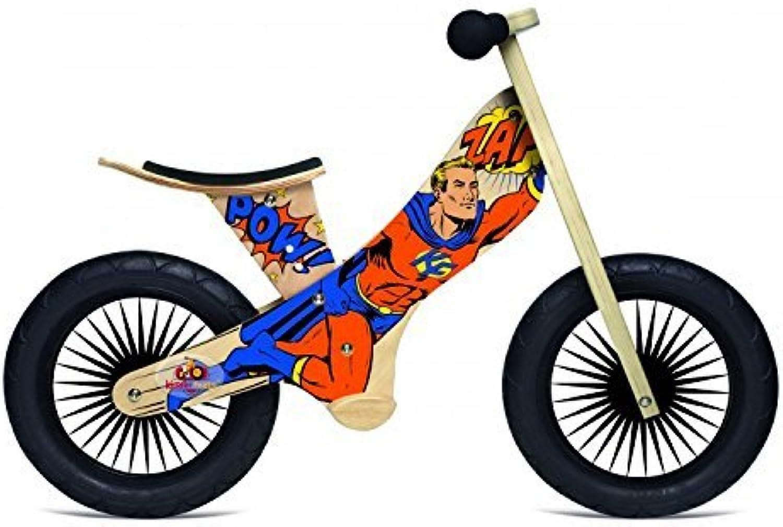 la mejor selección de Kinderfeets Wooden Wooden Wooden Balance Bike Retro, súperhero by Kinderfeets  tienda en linea
