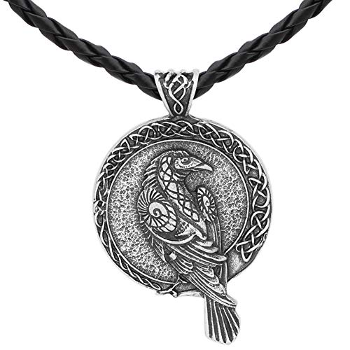 GuoShuang Norse Viking Triple Horn of Odin Raven Huginn and Muninn Amulet Rune Pendant Necklace with Valknut Gift Bag