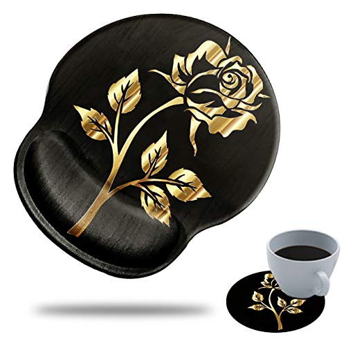 Gaming Mouse Pad with Wrist Support, Spsun Golden Rose Pattern Custom Design Cute Mousepad,Pain Relief Wrist Mouse Pads for Computer Laptop Home Office with Coasters