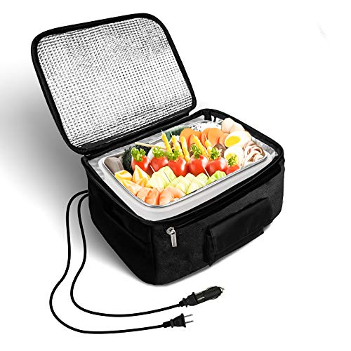 JAS Portable Oven Heated Personal Food Warmer Lunch box(12V and 110V Dual Use) for Prepared Meals Reheating & Raw Food Cooking at Work Without Using Office Microwave