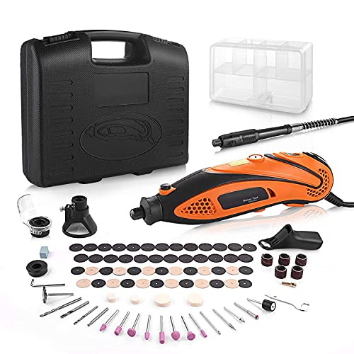 Rotary Tool Kit Variable Speed with Flex Shaft, 80 Accessories and 4 Attachments and Carrying Case, Multi-Functional for Around-The-House and Crafting Projects (Orange)