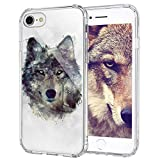 iPhone 8 Case, iPhone 7 Case, iPhone 7 Clear Case, MOSNOVO Wolf Clear Design Printed Transparent Plastic Hard Back with TPU Bumper Protective Back Case Cover for iPhone 7 (2016) / iPhone 8 (2017)