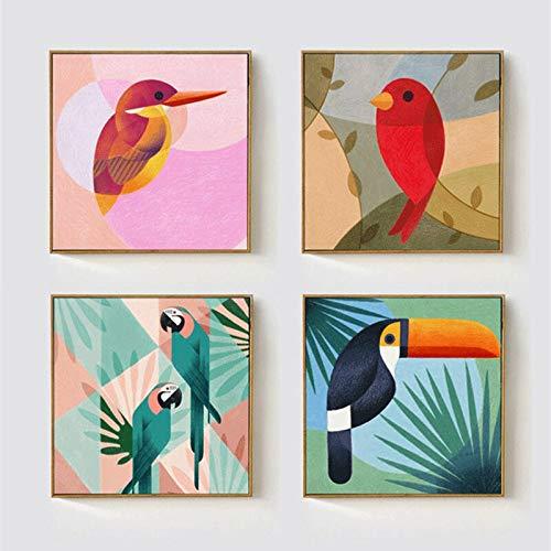 ganlanshu Tocón de Coco Hawaiano Abstracto geométrico tucán Lienzo Pintura Animal Sala de Estar decoración,Pintura sin Marco,50X50cmx4