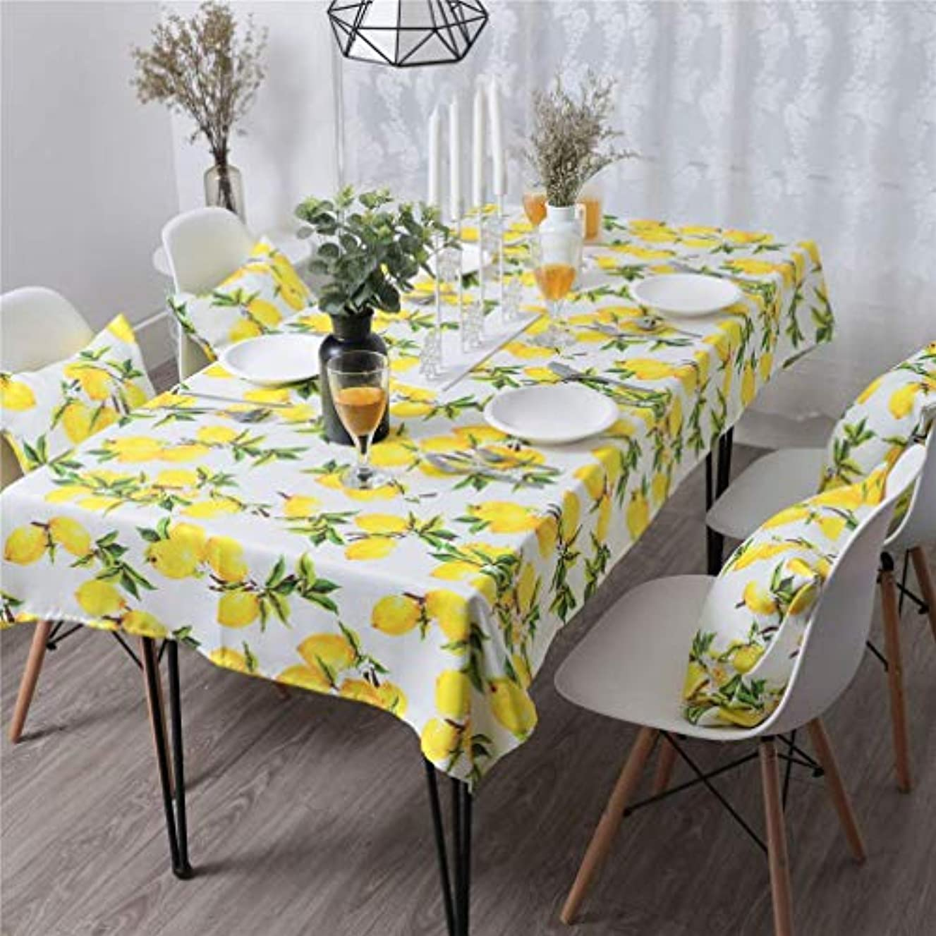 PinkMemory Rectangle Dinning Tablecloth Yellow Lemon Oblong Table Linen Home Kichen Decoration Tabletop Waterproof Non-Slip Durable